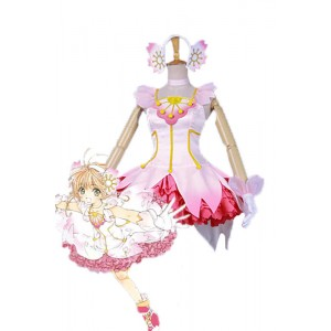 Cardcaptor Sakura Sakura Kinomoto Clear Card Pink Dress Cosplay Costumes