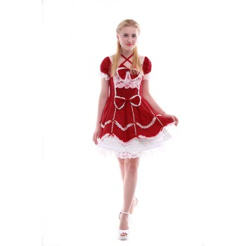 Women Girls Lolita Dresses Short Sleeves Cotton Dresses GC133B