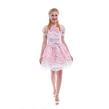 Women Girls Lolita Dresses Sweet Short Sleeves Pink Lace Dresses GC133C