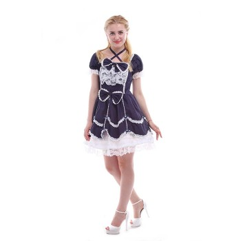 Women Girls Lolita Dresses Sweet Bowknot  Lace  Short Sleeves Dresses GC133D