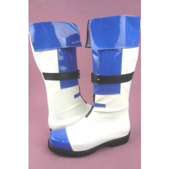 Guilty Gear KY KISKE White And Blue Boots Cosplay Shoes