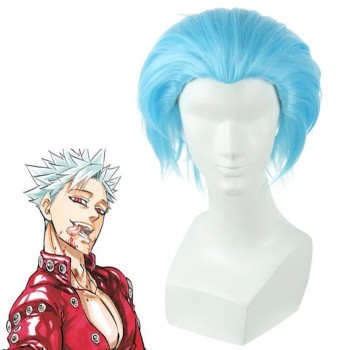 30cm Short The Seven Deadly Ban Sky Blue Cosplay Wig