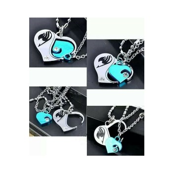 Fairy Tail Couple Heart Logo Necklace Pendant Amulet Talisman Charm Cosplay Prop