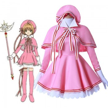 Cardcaptor Sakura Clear Card Anime Cosplay Costume Sakura Kinomoto Pink Dress