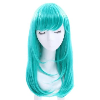 Women 65cm Long Teal Green Anime Synthetic Hair Straight Cosplay Wigs