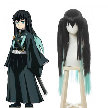 Demon Slayer Tokitou Muichirou Long Straight Green Mixed Black Cosplay Wigs