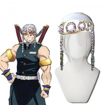 Demon Slayer Uzui Tengen 2 Style White Cosplay Wigs No Headwear