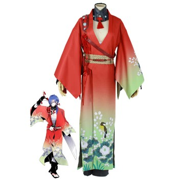 Dramatical Murder Koujaku Printing Vibration Sleeve Kimono Red Cosplay Costumes
