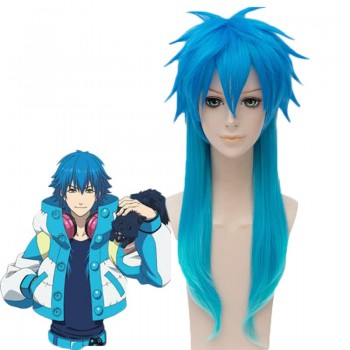 Dramatical Murder Seragaki Aoba Anime Blue Mixed Color Long Cosplay Wigs