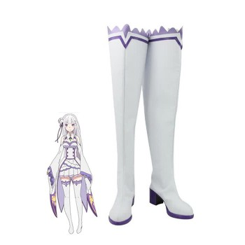 Re:ZERO -Starting Life in Another World Emilia Anime Customized Cosplay Shoes Long Boots