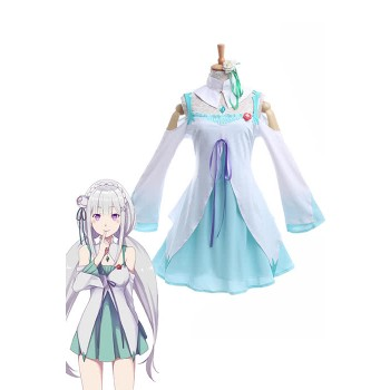 Re:ZERO -Starting Life in Another World Emilia Anime Cosplay Costumes Chiffon Daliy Dresses
