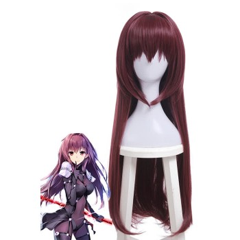 Fate Grand Order Scathach Synthetic Wine Red Long Cosplay Wigs