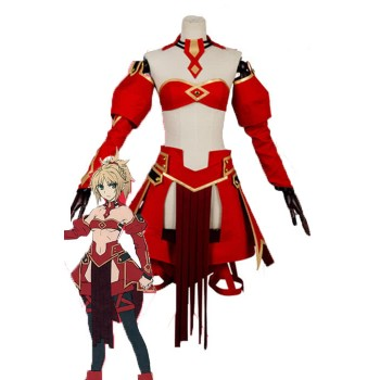 Fate/Apocrypha Aka no Saber Red Anime Cosplay Costumes