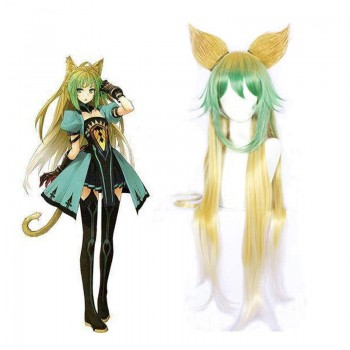 Fate Apocrypha Atalanta Yellow Mixed Green Cosplay Wigs With Ear