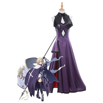 Fate Grand Order Fate Go Black Ruler Jeanne DArc Long Purple Dress Game Cosplay Costumes