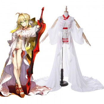 Fate Grand Order Nero White and Red Swimsuit Game Cosplay Costumes