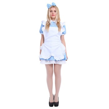 Alice's Adventures in Wonderland Women Girls Maid Lolita Cosplay Dresses Costumes