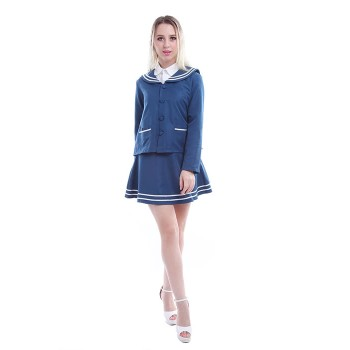 Women Autumn Long Sleeve Coat Vintage Dress Sailor Style Japanese School Uniform