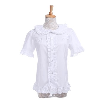 Women Girls Lolita Shirts White Cute Blouses with Lace Hem Sweet Costumes