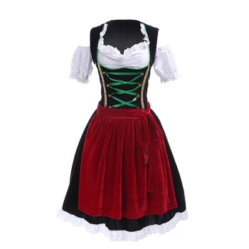 Women Oktoberfest Clothing Beer Costumes Black Strapless Dress