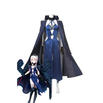 Fate Grand Order Black Saber Black Blue Mixed Anime Cosplay Costumes