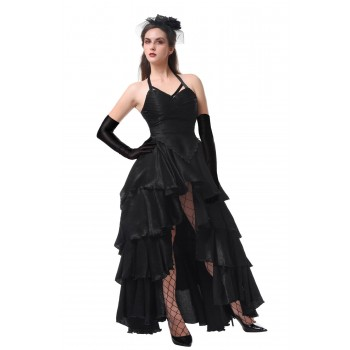 Gothic Halloween Black Long Party Woman Dress