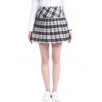 Girls Ladies Uniform Dress Plaid Pleated Mini Skirt GC41D
