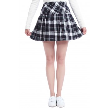 Women's Elastic High Waist Pleated School Uniforms Plaid Skirts GC41F