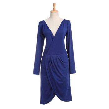 Women Business Long Sleeve Low-Cut V Neck Sexy Vintage Dresses
