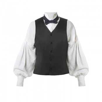 Men Renaissance Victorian Medieval Gentry Shirt With Vest