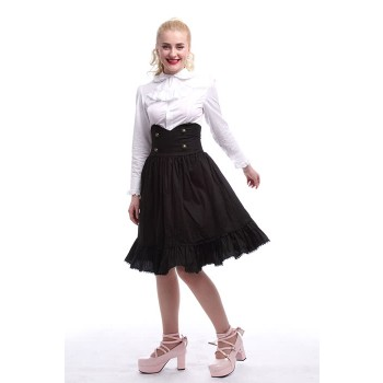 Girls Long Sleeve White Shirts+Classic Lolita Slim Cut Adjustable Waist Elegant Skirts