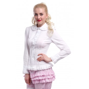 Women's Doll Collar Long Sleeve Blouses Slim Cut OL White Shirts