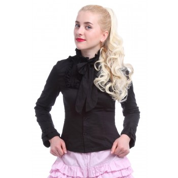 Women Bowknot Long Sleeve Black Lolita Style Slim Cut Shirts