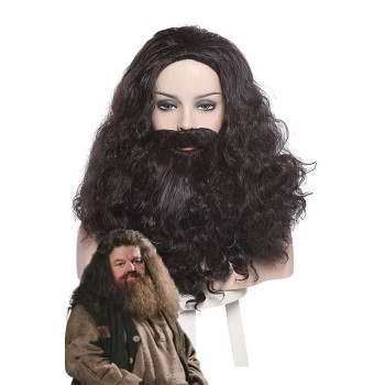 Rubeus Hagrid Long Curly Brown Movie Cosplay Man Wigs