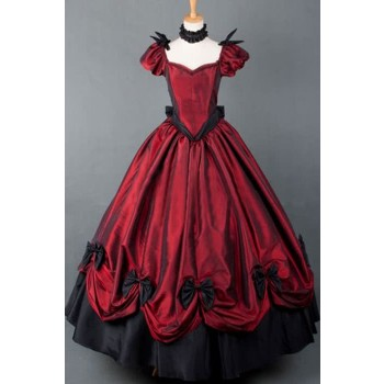 Gothic Victorian Dress Red Color With Attractive Design Bowknot