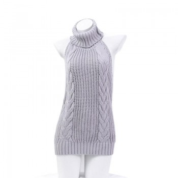 Japanese Grey Backless Sweater Sexy Cosplay Costume