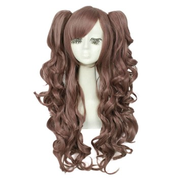 65cm Long Mixed Color Cosplay Wigs of Lolita Clip on Ponytail Wavy Hairpiece