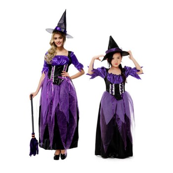 Women Girls Halloween Gothic Witch Cosplay Costumes Purple Long Dresses