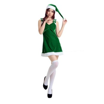 Women Girls Christmas Costumes Green Dresses with Hat