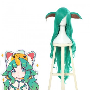 LOL Star Guardian Soraka Green Long Curly Game Cosplay Woman Wigs