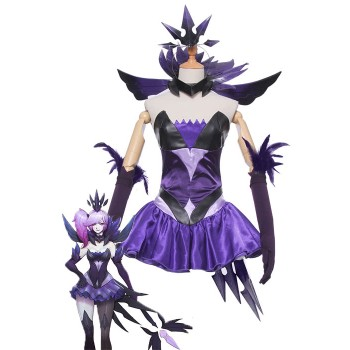 LOL Lux Elementalist Dark Skin Purple Dress Cosplay Costumes