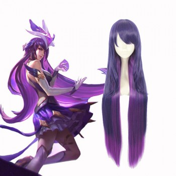 LOL Star Guardian Syndra Game Purple Long Straight Cosplay Wigs