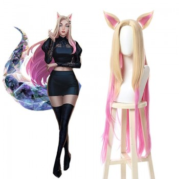 LOL KDA BADDEST Nine Tailed Fox Ahri Blond Mixed Pink Long Cosplay Wigs