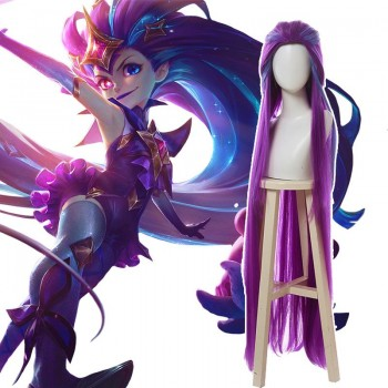 LOL Star Guardian Zoe Purple Long Cosplay Wigs