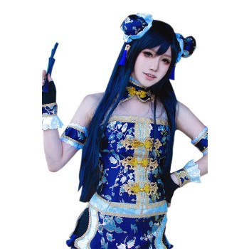 80cm Long Straight Love Live! Sonoda Umi Dark Blue Cosplay Wigs