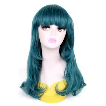 50cm Long Teal Green Wave Anime Female Cosplay Wigs