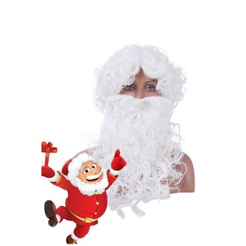 New Christmas Santa Claus White Curly Wigs with Beards Cosplay Wigs
