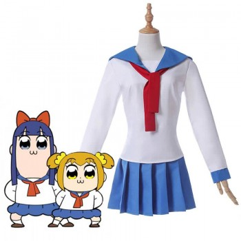 Poputepipikku Pop Team Epic Popuko and Pipimi Blue Uniform Skirt Anime Cosplay Costumes