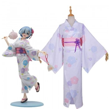 Re : Zero-Starting life in another World Rem Kimono Yukata Cosplay Costume