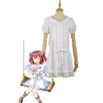 Love Live Sunshine Angel Aqours Unawaken Ruby Kurosawa White Dress Anime Cosplay Costumes